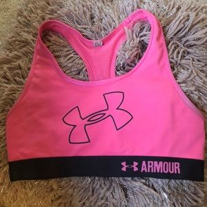 girls hot pink under armor sports bra